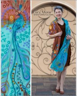 Peacock Majesty / Nuno Felt Art Scarf