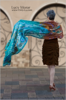Peacock Majesty / Nuno Felt Art Scarf