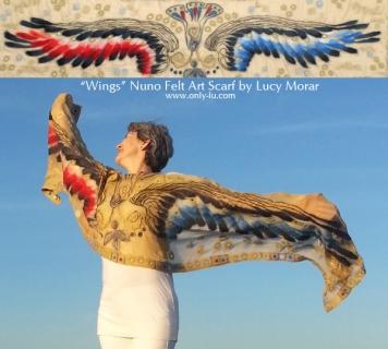 Wings / Nuno Felt Art Scarf