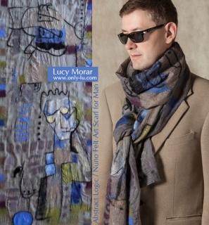 Abstract Logic / Nuno Felt Art Scarf for Man