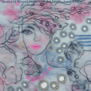 Aroma of Roses / Nuno Felt Art Scarf / Fragment