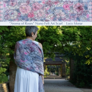 Aroma of Roses / Nuno Felt Art Scarf
