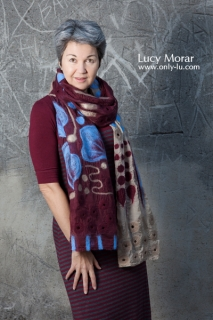 Autumn Wine / Nuno Felt Art Scarf