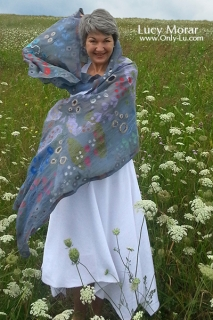 Blossoming Dream / Nuno Felt Art Scarf