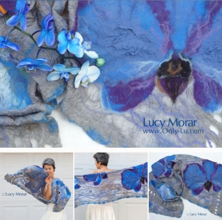 Blue Mystique / Felt Art Scarf