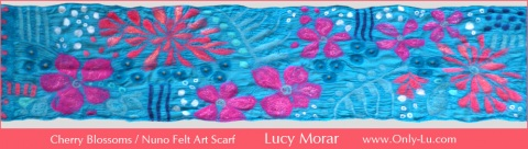 Cherry Blossoms / Nuno Felt Art Scarf