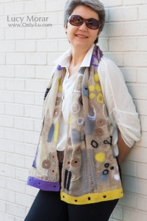 Desire to Fly / Nuno Felt Art Scarf