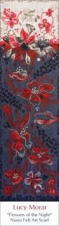 Flowers of the Night / Nuno Felt Art Scarf