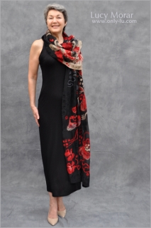 Flowers of the Night / Nuno Felt Art Scarf