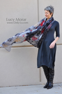 Glowing Night / Nuno Felt Art Scarf