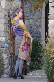 Golden Light /Nuno Felt Art Scarf