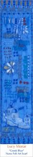 Greek Blue / Nuno Felt Art Scarf