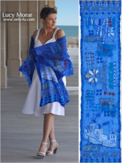 Greek Blue / Nuno Felt Art Scarf