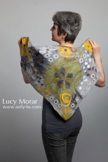 Green Equinox / Triangular Nuno Felt Art Scarf