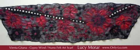 Gypsy Wind / Nuno Felt Art Scarf