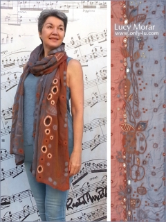Honey and Apples / Nuno Felt Art Scarf