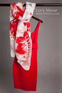 Lilies Red and White / Felt Art Scarf