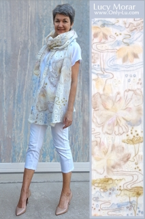 Morning Mist / Nuno Felt Art Scarf