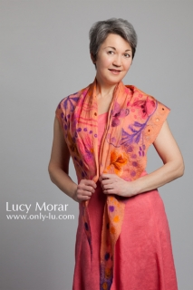 Peach / Triangular Nuno Felt Art Scarf