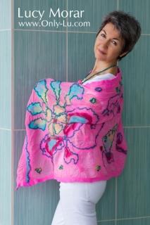 Pink Fancy / Felt Art Scarf & Crocheted Beads