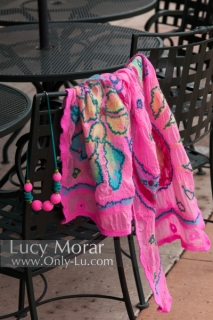 Pink Fancy / Felt Art Scarf & Crocheted Beads