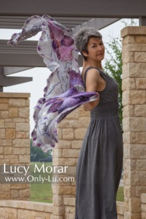 Purple Orchids / Nuno Felt Art Scarf
