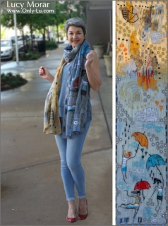 Rainy Day / Nuno Felt Art Scarf