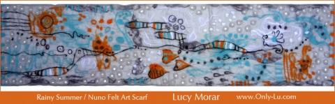Rainy Summer/ Nuno Felt Art Scarf