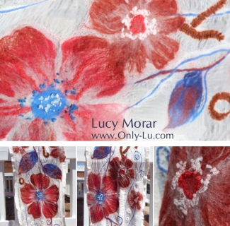 Red Flowers / Felt Art Scarf