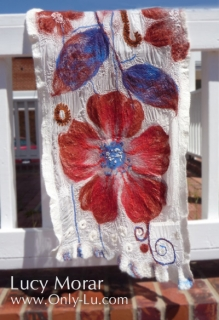 Red Flowers / Felt Art Scarf