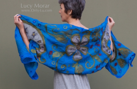 Royal Paisley / Nuno Felt Art Scarf