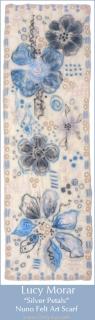 Silver Petals / Nuno Felt Art Scarf
