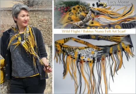 Wild Flight / Baktus Nuno Felt Art Scarf