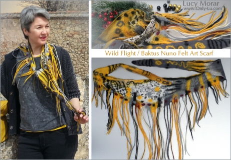 Wild Flight / Baktus Nuno Felt Art Scarf