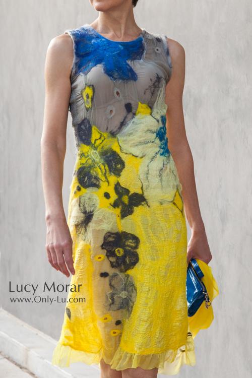 Yellow Dress / Nuno felt dress